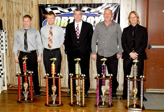 2013 Port Royal track champions, shown left to right: Logan Wagner, 305 sprints; Deron Henry, enduros; Terry Naugle, late models; Tim Krape, pro stocks; Blane Heimbach, 410 sprints.